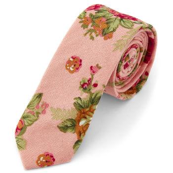 Corbata floral en rosa salmón