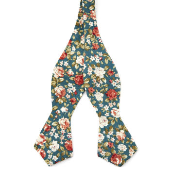 Pajarita para atar floral turquesa