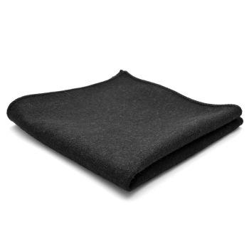 Black Handmade Wool Pocket Square