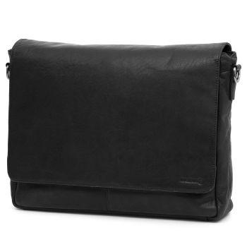 Montreal Black Leather Messenger Bag