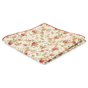 Pochette de costume crème à imprimé floral
