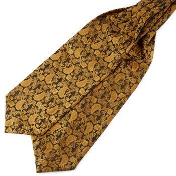 Kullanvärinen & ruskea kasmirkuvioinen polyesteri ascot-solmio