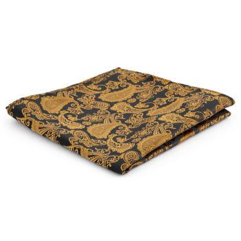 Pañuelo de bolsillo de poliéster con estampado cachemira dorado y marrón