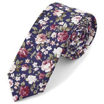 Corbata azul oscuro con flores