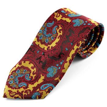 Corbata de seda con estampado en burdeos