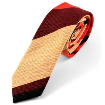 Corbata de lino a rayas marrón