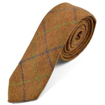 Corbata natural hecha a mano a cuadros marrón