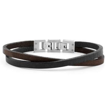 Roy Armband Einfacher Wickelstil In Braun & Stahl