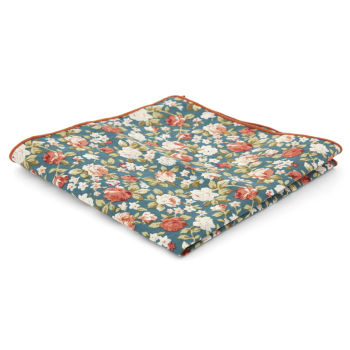 Pañuelo de bolsillo turquesa floral
