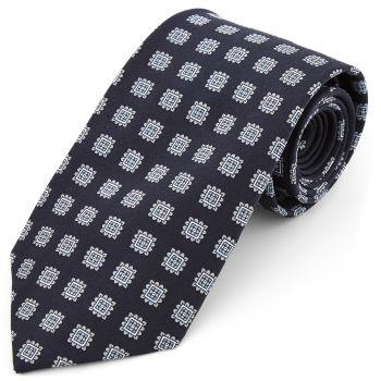 Corbata ancha de seda azul marino geométrica
