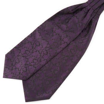 Violetti & musta barokkityylinen polyesteri ascot-solmio