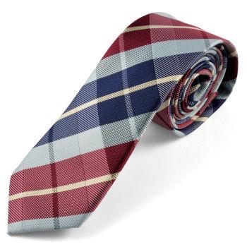 Cravate écossaise bleue et bordeaux