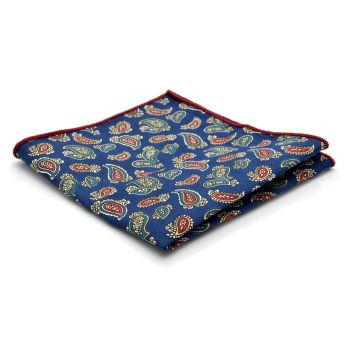 Fazzoletto da taschino color blu navy con motivo Paisley