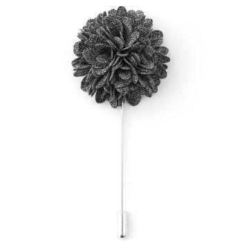 Szpilka do marynarki - nakrapiany szary kwiat