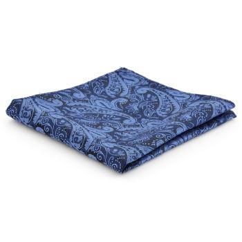 Pañuelo de bolsillo de poliéster con estampado cachemira azul
