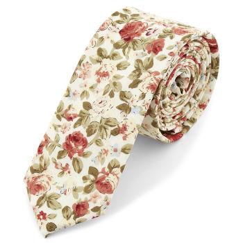 Kremowy krawat w kwiaty
