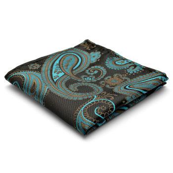 Pañuelo de bolsillo de seda con estampado de cachemir turquesa