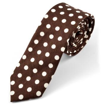 Corbata en algodón marrón de lunares