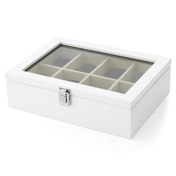 Białe sosnowe pudełko na 8 zegarków