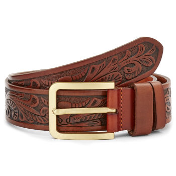 Cinturón de cuero artístico marrón rojizo