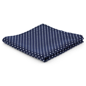 Pañuelo de bolsillo de poliéster azul marino con lunares