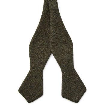 Pajarita para atar de lana verde oscuro