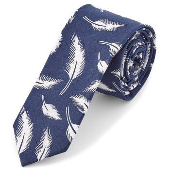 Corbata azul con plumas