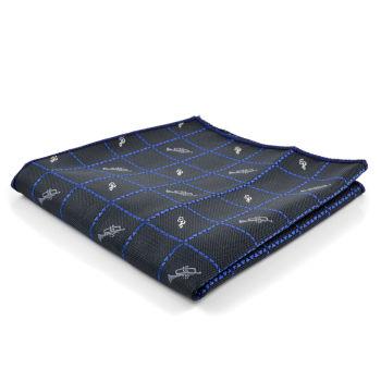 Pañuelo de bolsillo azul con diseño musical