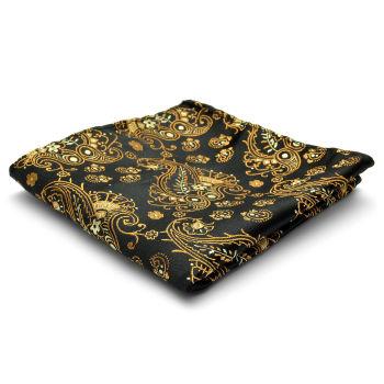 Pañuelo de bolsillo de seda con estampado negro