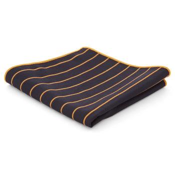 Pañuelo de bolsillo azul marino y naranja