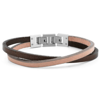 Tan & Steel Roy Single Wrap Bracelet