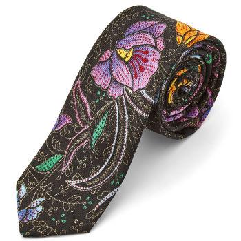 Corbata con estampado floral bordado