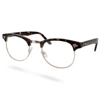 Gafas transparentes vintage marrón y dorado