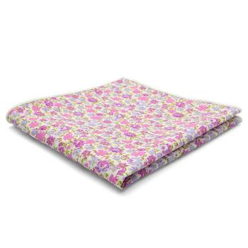 Pañuelo de bolsillo de algodón con flores púrpura claro