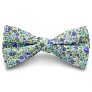 Pajarita de algodón con flores azules