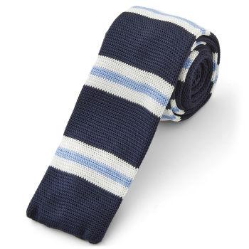 Corbata de punto rayas azules