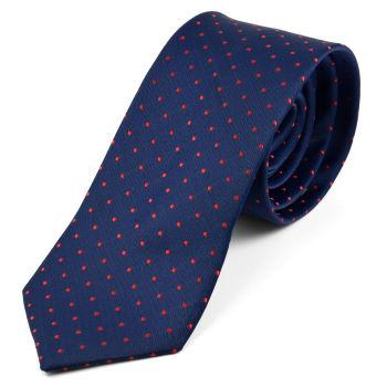 Corbata azul con puntos rojos
