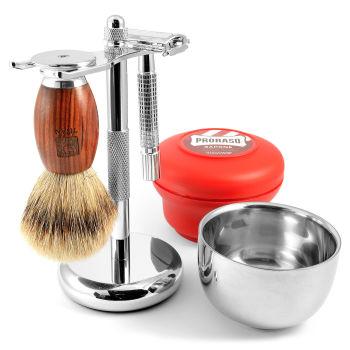 Conjunto de Barbear em Carvalho Vermelho
