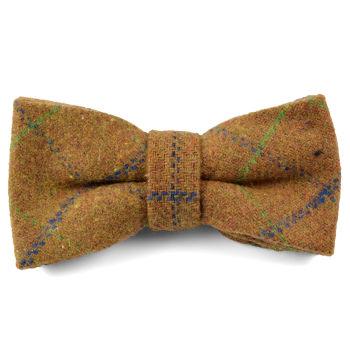 Noeud papillon en laine marron à carreaux fait main