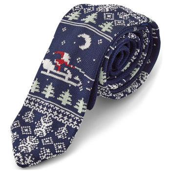 Corbata navideña de punto con Papá Noel