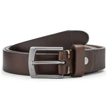 Slim Walnut Brown Leather Belt