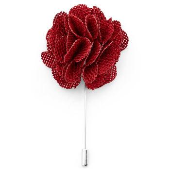 Alfiler de solapa con flor rojo intenso
