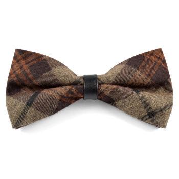 Pajarita de lana marrón a cuadros escoceses