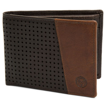 Montreal Dotty Brown & Tan RFID Leather Wallet