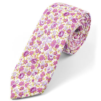 Corbata floreada púrpura brillante