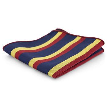 Pañuelo de bolsillo a rayas azules, rojas y amarillas
