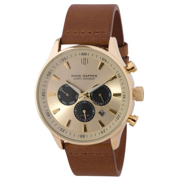 Zegarek Troika w kolorze brązowo-złotym z czarnymi tarczami