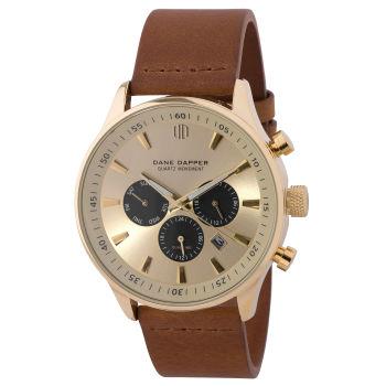 Brown, Gold-Tone & Black Subdials Troika Watch