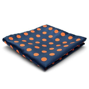 Pañuelo de bolsillo de seda con lunares naranjas