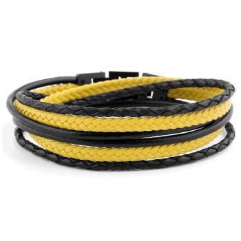 Black & Yellow Roy Leather Bracelet
